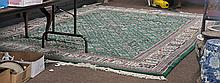 Large Chinese Wool Rug: Green Ground