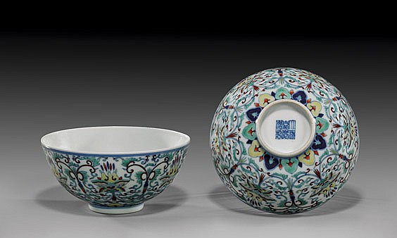 PAIR ANTIQUE DOUCAI PORCELAIN BOWLS