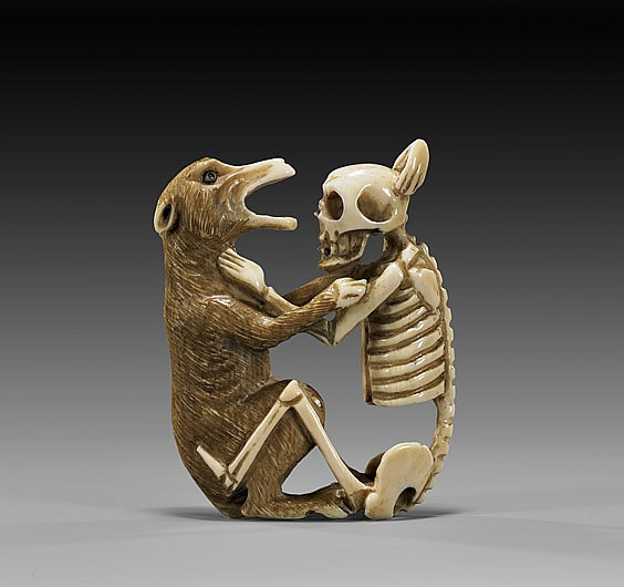 UNUSUAL IVORY NETSUKE: Wolf & Skeleton