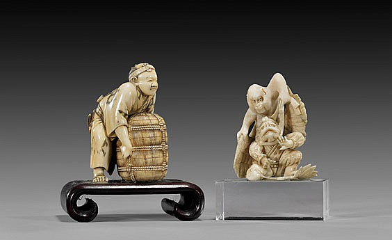 TWO ANTIQUE CARVED IVORY OKIMONO