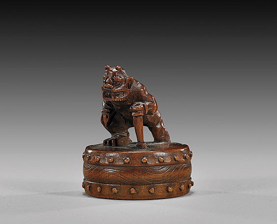 ANTIQUE WOOD NETSUKE: Oni & Drum