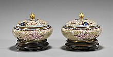 Pair Chinese Cloisonné Covered Jars