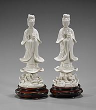 Pair Antique Blanc de Chine Ladies