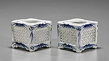 Pair Antique Blue & White Incense Burners