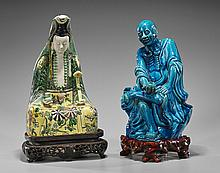Two Chinese Porcelain Figures: Lohan & Guanyin