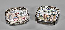 Pair Antique Chinese Enamel on Copper Dishes