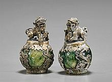 Pair Chinese Silver & Hardstone Stress Balls