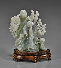 Chinese Carved Celadon Jade: Monks