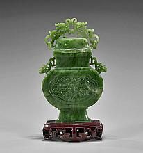 Chinese Carved Spinach Jade Urn