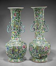 Pair Tall Antique Chinese Mille Fleur Vases