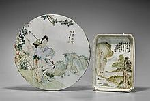 Two Chinese Enameled Porcelains: Tray & Tile