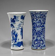 Two Chinese Blue & White Beaker Vases