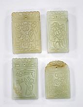 Four Carved Celadon Jade Plaques