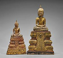 Two Antique Southeast Asian Gilt Wood Buddhas