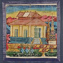 Two Antique Burmese Painted Panels: Architecture