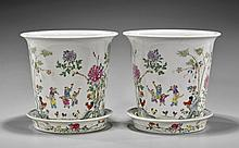 Pair Chinese Famille Rose Flower Pots