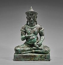 Khmer Bronze Seated Bodhisattva