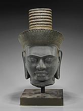 Heavy Khmer Carved Stone Head