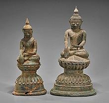 Pair Antique Southeast Asian Bronze Buddhas