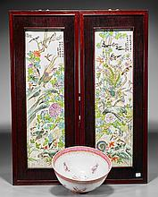 Three Enameled Porcelains: Bowl & Panels