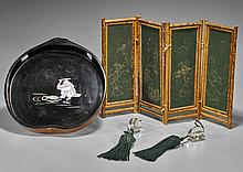 Three Chinese Items: Screen, Weights & Tray