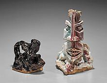 Two Abstract Glazed Pottery Figurines