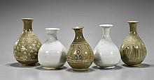 Five Miniature Korean Yuhuchunping Vases
