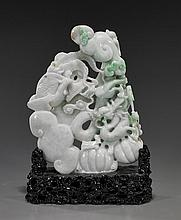 Chinese Carved Jadeite Dragon & Phoenix
