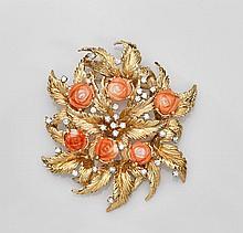 Coral & Diamond 14K Yellow Gold Brooch/Pendant