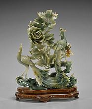 Large Chinese Carved Jade: Phoenix
