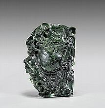 Chinese Carved Spinach Jade Guandi