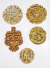 Five Chinese Archaistic Carved Jade/Hardstones