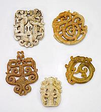 Five Chinese Archaistic Jade/Hardstone Plaques