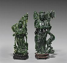 Pair Chinese Carved Spinach Jade Guanyins