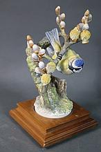 ROYAL WORCESTER BLUE TIT & PUSSY WILLOW