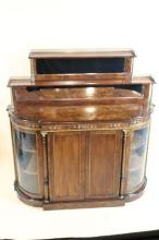 ENGLISH INLAID ANTIQUE TWO TIERED CREDENZA