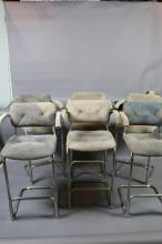 MID-CENTURY MODERN (6) CHROME/SUEDE BAR STOOLS