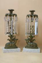 VICTORIAN ANTIQUE PAIR OF CRYSTAL LUSTERS