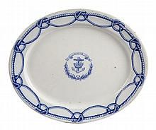 A RARE 19TH-CENTURY ROYAL NAVY BLUE AND WHITE MEAT PLATTER