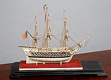Ø  A FINE EARLY 19TH-CENTURY NAPOLEONIC FRENCH PRISONER-OF-WAR BONE AND BALEEN MODEL FOR AN 80-GUN SHIP