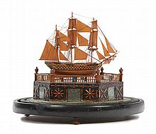 AN EARLY 19TH-CENTURY NAPOLEONIC FRENCH PRISONER-OF-WAR BOXWOOD SHIP MODEL