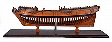 A 1:48 SCALE ADMIRALTY DOCKYARD OR NAVY BOARD MODEL FOR AN UNIDENTIFIED TWO-MASTED 8-GUN VESSEL OF CIRCA 1720