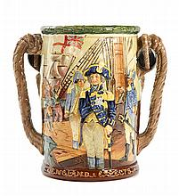 A LARGE LIMITED EDITION 150TH TRAFALGAR ANNIVERSARY COMMEMORATIVE TYG BY ROYAL DOULTON
