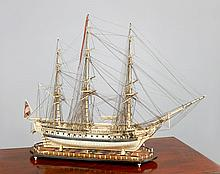 Ø  A LARGE, FINELY DETAILED AND WELL PRESENTED BONE AND BALEEN NAPOLEONIC PRISONER-OF-WAR-STYLE SHIP MODEL FOR A 38-GUN FRIGATE