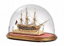 AN ATTRACTIVE AND FINELY RESTORED EARLY 19TH-CENTURY FRENCH NAPOLEONIC FRENCH PRISONER-OF-WAR BONE SHIP MODEL