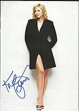 Kim Catrell signed sexy A4 colour magazine photo.