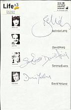 Life x 3 cast signed A4 white sheet with inset