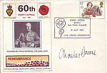 CHARLES DANCE    -    British Legion commemorative envelope signed by actor Charles Dance. Good condition