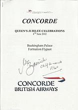 Mike Banister Chief Concorde pilot signed 2002 Queens Concorde Buckingham Palace Formation Fly-past Technical Programme. Four pages detailing the Waypoints and technical information which ensured the amazing. It was a fantastic sight with 27