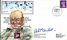WINSTON CHURCHILL    -    Airborne Forces series commemorative envelope signed by Winston Churchill, grandson of the legendary wartime Prime Minister who helped create the Paras. Good condition